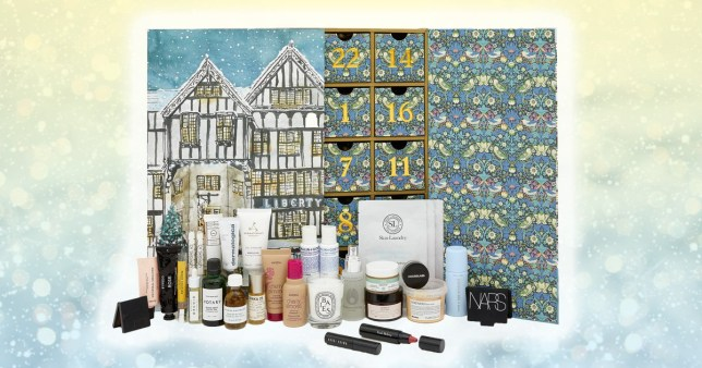 Liberty's 2019 advent calendar with a range of products featured in front from brands such as NARS and Votary