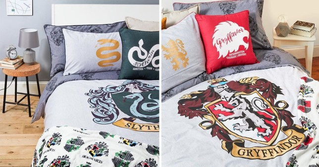Split image of Harry Potter bedding, with one side being Gryffindor-themed and the other Slytherin-themed