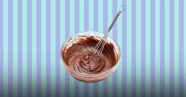mixing bowl filled with cake batter