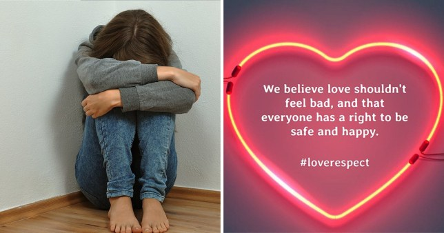 Stock image of girl curling up in a corner and promotional message for Women's Aid's #LoveRespect campaign