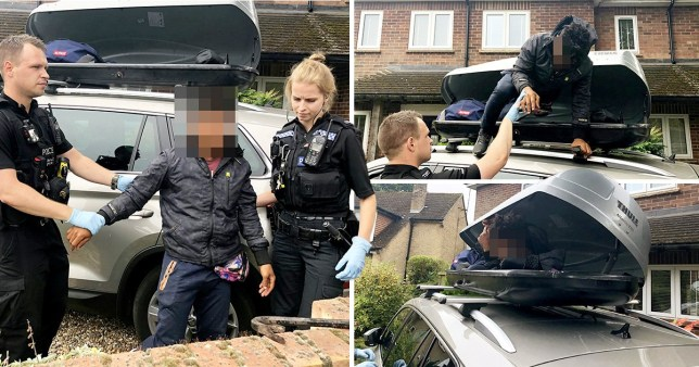 Simon called police, who wrenched the stowaway out of the roof box with a crowbar.
