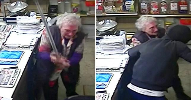 June Turner grabbed her stick and 'walloped' him