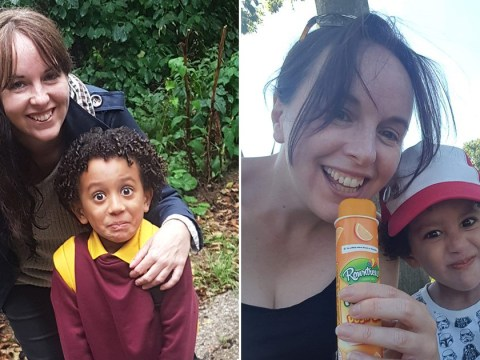 Mum sees son's first day at school after having two eye transplants