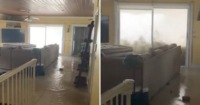 Water crashes against a second story window as Dorian brings flooding to Bahamas