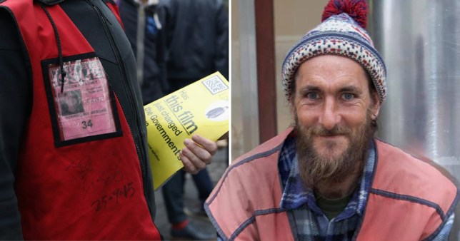 Richard, a homeless man from Lincoln, and stock image of Big Issue seller