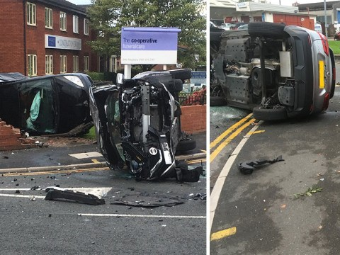 'Drug driver' hurtles into car leaving funeral parlour wall destroyed