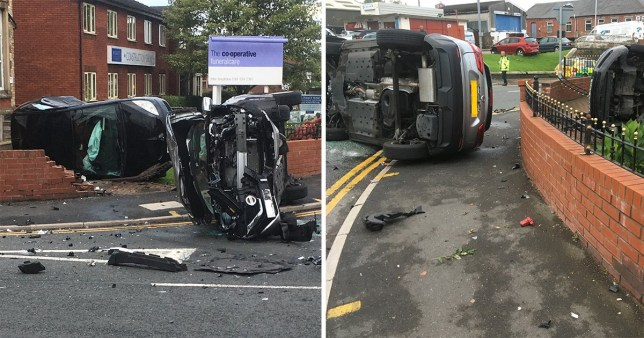 The aftermath of a suspected drug driver crash in Oldham, Greater Manchester
