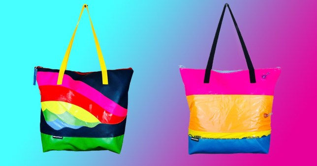 Colorful bags made from materials from old bouncy castle and inflatables