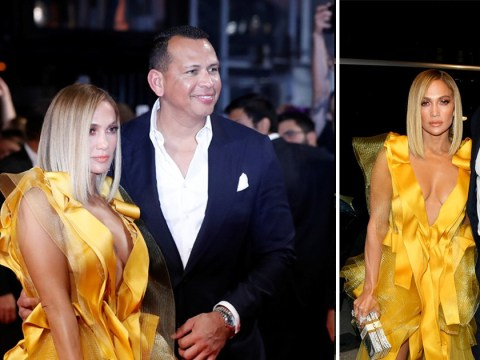 Jennifer Lopez is the golden girl as she attends Hustlers premiere with Alex Rodriguez