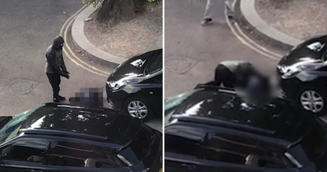 Video taken by a local resident captures a masked man leaning over his body, seemingly stunned by what has happened.