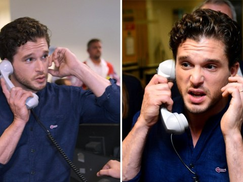 Kit Harington gets into the swing of things at the BGC charity day in honour of the employees who died on 9/11