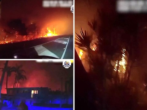 Police drive through centre of raging bushfire to save residents' lives