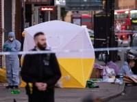 Murder scene in Camden High Street, north London