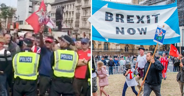 Video of man throwing Nazi salute at Parliament protest next to picture of protesters