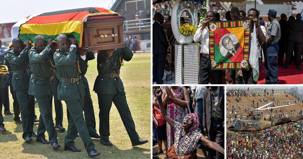 Soldiers in ceremonial uniform carry the casket of Zimbabwe's former President, the late Robert Mugabe (Picture; Karumba/AFP)