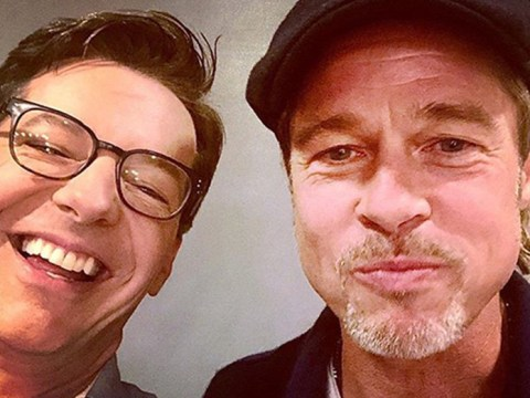 Brad Pitt even makes eating food look good in rare selfie with Sean Hayes