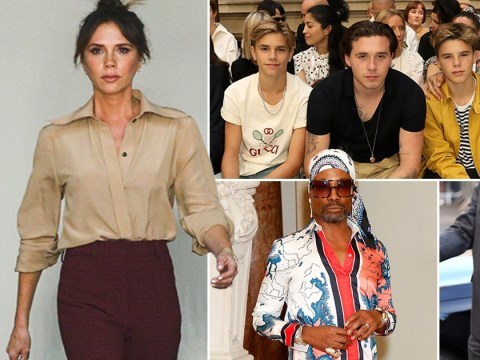 Victoria Beckham's star-studded LFW show as family hams it up with Anna Wintour and protesters crash