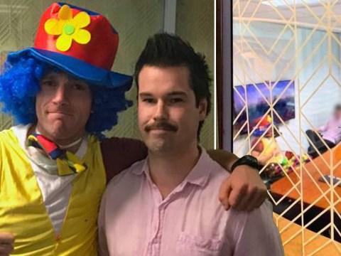 Man takes clown to his redundancy meeting