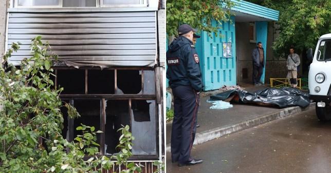Scene of apartment block fire in Krasnoyarsk, Russia