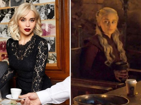 Game Of Thrones' Emilia Clarke still 'ignoring the coffee' in apparent nod to infamous 'Starbucks cup' blunder