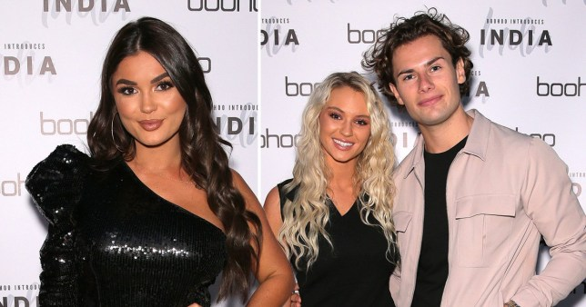 Love Island's Lucie and Joe seated on separate table from islanders at India Reynolds's Boohoo bash