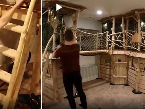 Dad-of-four spends eight months creating a two-floor treehouse in the basement for his kids