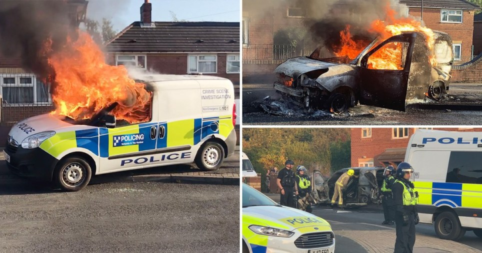Riot police called after van fire bombed in Yorkshire