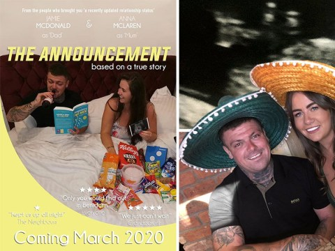 Expectant parents share pregnancy announcement with amazing fake movie poster