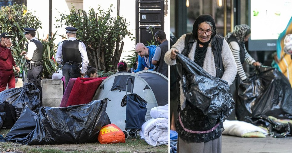 Homeless migrant camp in one of London's richest areas cleared by police