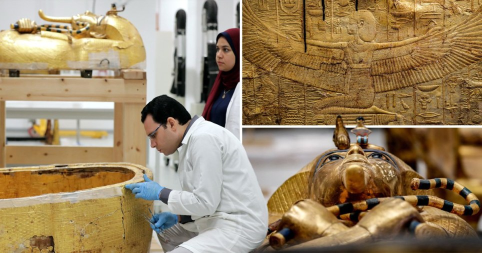 Pictures have emerged of Tutankhamun's sarcophagus since it was removed from the tomb (Picture: EPA/Getty)