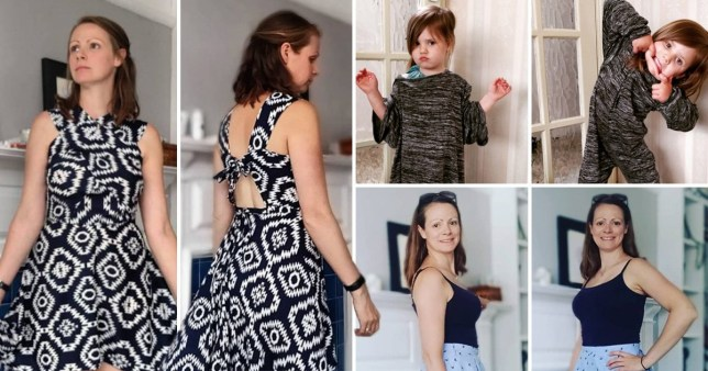 Becky makes old clothes from duvet covers and shower curtains