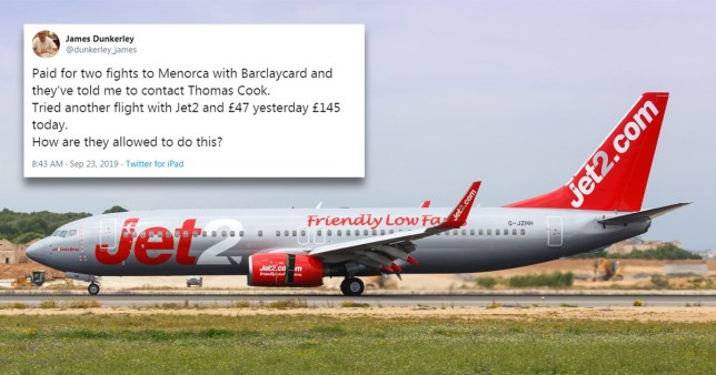Jet2 branded 'despicable' after 'trebling prices' following Thomas Cook collapse