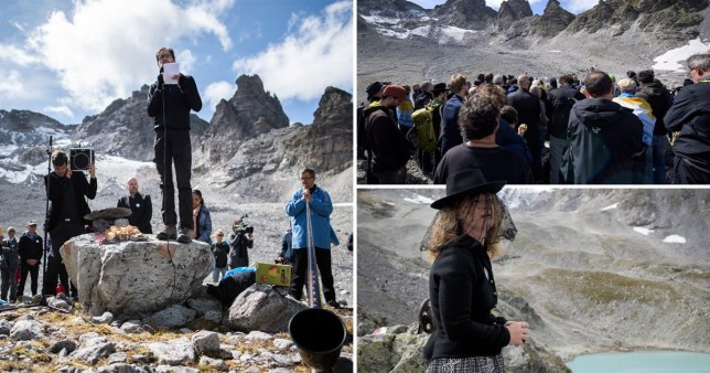 Climate activists hold funeral for Alps glacier lost to global warming