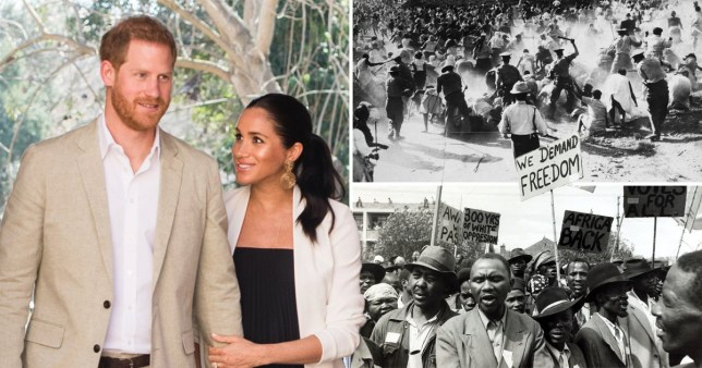 Prince Harry and Meghan/ pictures of the apartheid