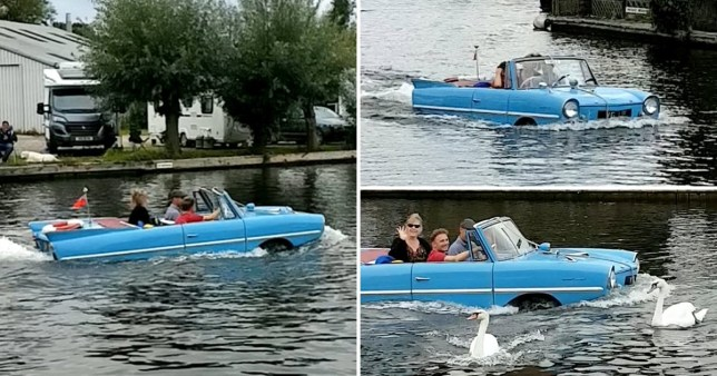 Floating car on the canal
