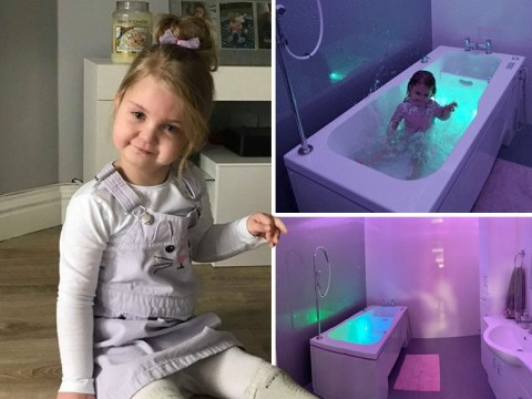 Mum has sensory disco bath built to give comfort to daughter with rare genetic condition
