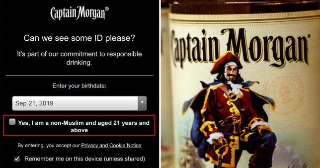Captain Morgan website asking visitors to confirm they are 'non-Muslim' next to picture of Captain Morgan bottle of rum