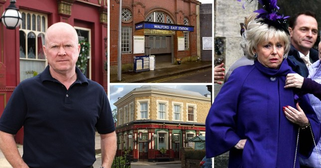 A comp of the EastEnders set and characters including Peggy and Phil Mitchell