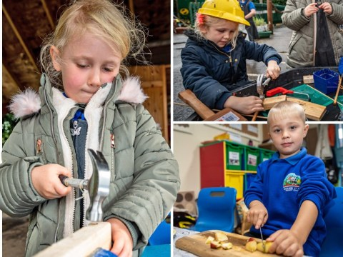 School gives children saws and knives to teach them about the real world
