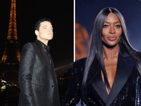 Rami Malek, Naomi Campbell and Kate Moss caught in the rain at Saint Laurent's outdoor fashion show