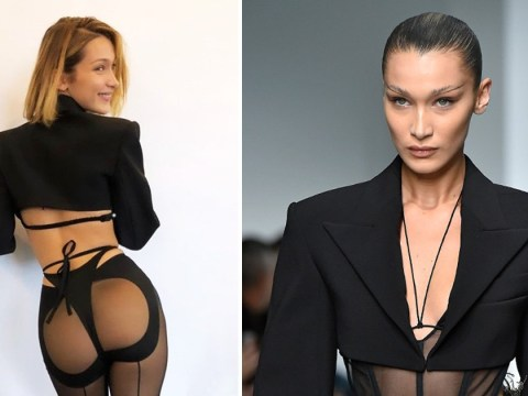 Bella Hadid knows she's on fire as she rocks chaps at Mugler PFW show
