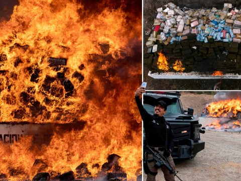This is what it looks like when 26 tonnes of drugs are burned at once