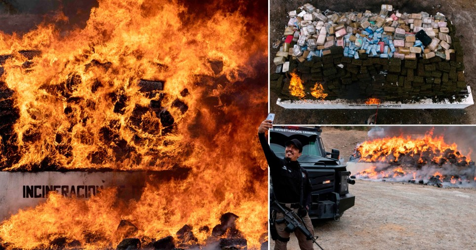 More than 26 tonnes of drugs were set on fire to show drug traffickers who's boss
