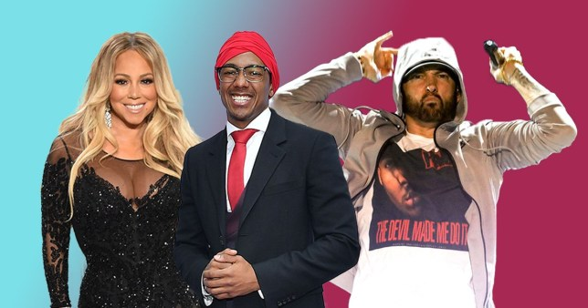 Mariah Carey, Nick Cannon and Eminem
