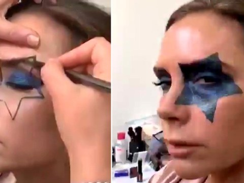 Victoria Beckham is fifth member of Kiss as she has face painted with giant star