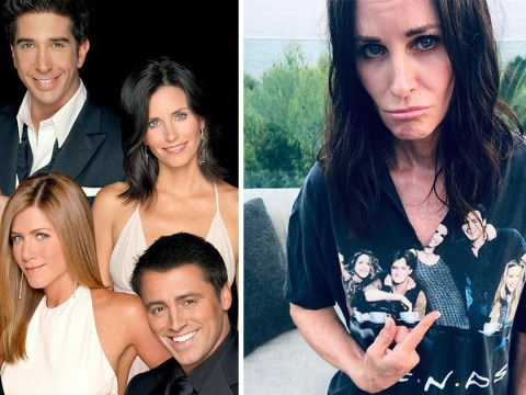 Courteney Cox is still rocking Friends merch 15 years later but her tee is missing half of Monica's head
