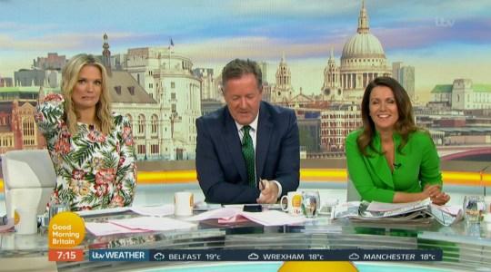 Charlotte Hawkins, Piers Morgan and Susanna Reid on Good Morning Britain