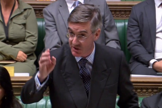"A video grab from footage broadcast by the UK Parliament's Parliamentary Recording Unit (PRU) shows Britain's Leader of the House of Commons Jacob Rees-Mogg speaking during the Standing Order 24 emergency debate on a no-deal Brexit in the House of Commons in London on September 3, 2019. - Prime Minister Boris Johnson was braced for a showdown with parliament on Tuesday over his Brexit plan that could spark a snap election and derail Britain's exit from the European Union next month. (Photo by - / various sources / AFP) / RESTRICTED TO EDITORIAL USE - MANDATORY CREDIT "" AFP PHOTO / PRU "" - NO USE FOR ENTERTAINMENT, SATIRICAL, MARKETING OR ADVERTISING CAMPAIGNS - EDITORS NOTE THE IMAGE HAS BEEN DIGITALLY ALTERED AT SOURCE TO OBSCURE VISIBLE DOCUMENTS-/AFP/Getty Images"