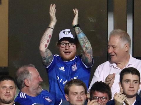 Ed Sheeran jubilantly celebrates Ipswich Town scoring the winning goal as he kickstarts 18-month touring break