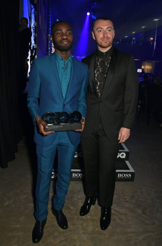 LONDON, ENGLAND - SEPTEMBER 03: Dave, winner of the Breakthrough Music Act, and Sam Smith attend the the GQ Men Of The Year Awards 2019 in association with HUGO BOSS at the Tate Modern on September 3, 2019 in London, England. (Photo by David M. Benett/Dave Benett/Getty Images for HUGO BOSS)